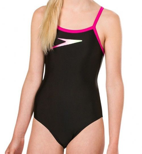 SPEEDO GIRLS SWIMSUIT.PLACEMENT BLACK THINSTRAP MUSCLEBACK SWIMMING COSTUME 9S 6